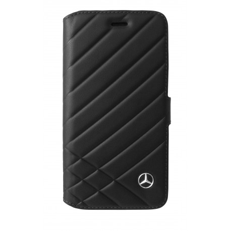 Etui iphone 6 / 6s Mercedes Benz Pattern II folio cuir noir