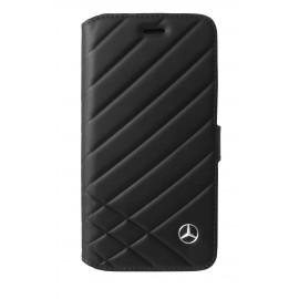 Etui iphone 8 Mercedes Benz Pattern II folio cuir noir