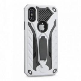 Coque Iphone 5/5s/se renforçée stand anti choc argent