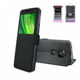 Etui Motorola G6 Play folio stand fenêtre noir