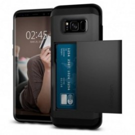 Coque Galaxy S8 Plus Spigen Slim Armor porte carte noir