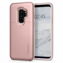 Coque Galaxy S9 Plus Spigen Slim Armor porte carte rose
