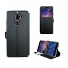 Etui Nokia 3.1 folio stand fenêtre noir