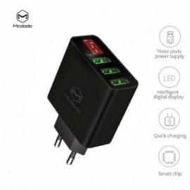 Chargeur Secteur 3 ports USB avec affichage digital 5V noir