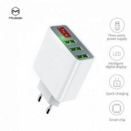 Chargeur Secteur 3 ports USB avec affichage digital 5V blanc