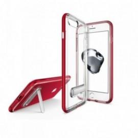 Coque Iphone 7 / 8 Hybrid avec support stand aimanté en métal rouge