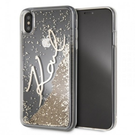 Coque Iphone Xs Max 6,5'' Karl Lagerfeld liquid paillette or
