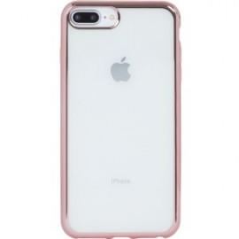 Coque pour iPhone 6 Plus/6S Plus/7 Plus/8 Plus souple transparente métal rose