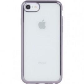 Coque pour iPhone 6 Plus/6S Plus/7 Plus/8 Plus souple transparente métal gris