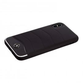Coque iPhone XS Mercedes Benz cuir noir et alu