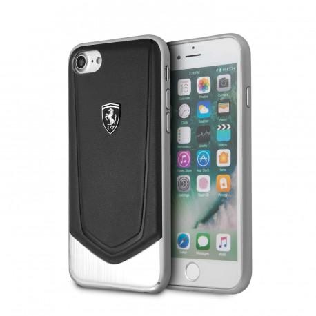 Coque iphone 8 Ferrari cuir noir et alu