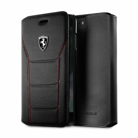 Etui iphone 7 Ferrari folio cuir noir