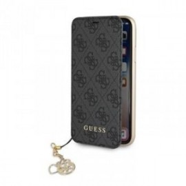 Etui Iphone XS MAX 6,5 Folio Guess 4G Charms gris