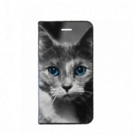 Etui Samsung J6 Plus J610 Folio motif Chat aux Yeux bleus