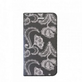 Etui Samsung J6 Plus J610 Folio motif Dentelle
