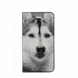 Etui Samsung J2 2018 Folio motif Husky aux Yeux bleus