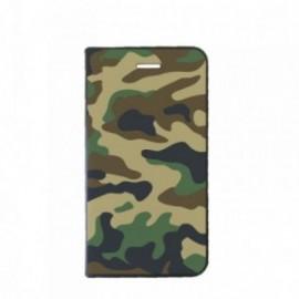 Etui Samsung A7 2018 Folio motif Camouflage kaki