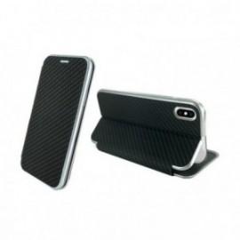 Etui Iphone Xs max 6.5 folio imitation carbone noir