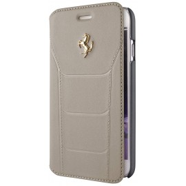 Etui iphone 6  / 6s Ferrari folio cuir beige logo or