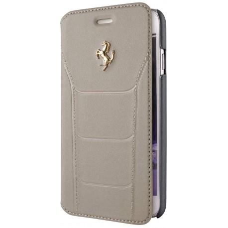 Etui iphone 6  / 6s Ferrari folio cuir beige logo or