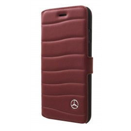 Etui iphone 8 Mercedes Benz folio cuir bordeaux