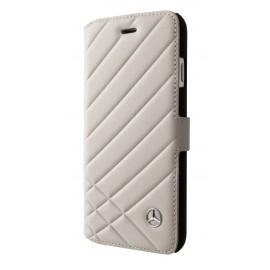 Etui iphone 8 Pattern II Mercedes Benz folio cuir beige