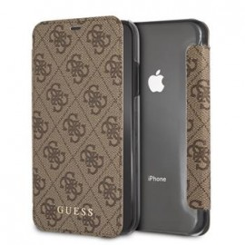 Etui iPhone 8 plus folio Guess Charms marron 4G