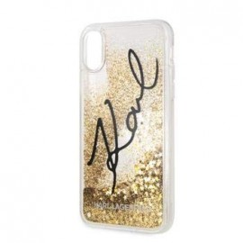 Coque Iphone XR Karl Lagerfeld transparente Liquid Glitter Or