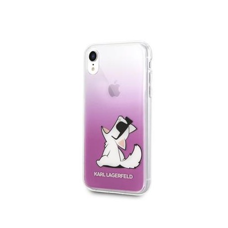 Coque Iphone XR Karl Lagerfeld transparente chat choupette Lunette Rose