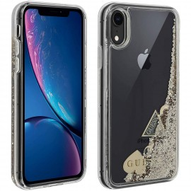 Coque Iphone XR Karl Lagerfeld transparente Liquid Glitter Hearts Or