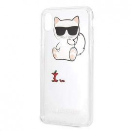 Coque Iphone XS MAX 6.5 Karl Lagerfeld transparente chat Fun Eaten Apple