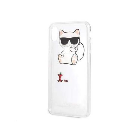Coque Iphone XS MAX 6.5 Karl Lagerfeld transparente chat Fun Eaten Apple