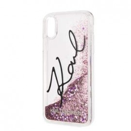 Coque Iphone XS MAX 6.5 Karl Lagerfeld transparente Liquid Glitter rose