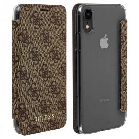 Etui Iphone X / XS folio Guess 4G marron