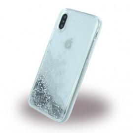 Coque iPhone X / XS Guess Liquid Glitter paillettes argent