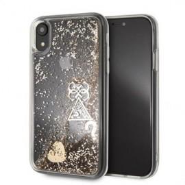 Coque iPhone X / XS Guess Liquid Glitter Hearts Gold