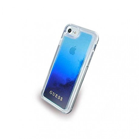Coque iPhone X / XS Guess Liquid Glitter blue