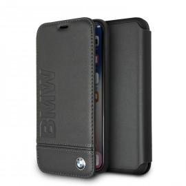 Etui iphone XS MAX 6.5 BMW signature Folio cuir noir