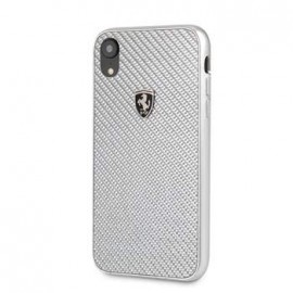 Coque iphone XR Ferrari Real Carbon Silver