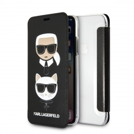 Etui iPhone X Karl Lagerfeld folio Choupette noir