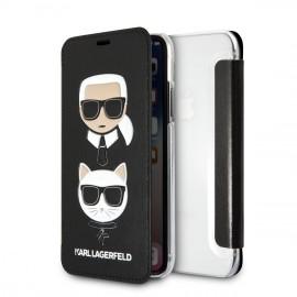 Etui iPhone XS Karl Lagerfeld folio Choupette noir