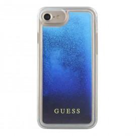 Coque iPhone 8 Guess Liquid Glitter Paillettes Bleu