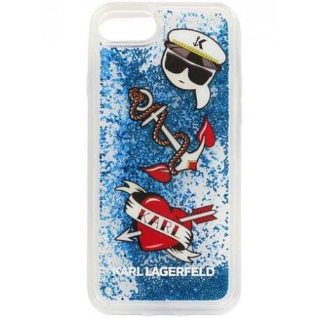 Coque Iphone 6 / 6S Karl Lagerfeld Captain Karl Liquid Glitter Blue