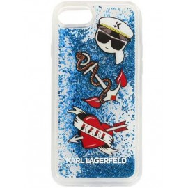 Coque Iphone 8 Karl Lagerfeld Captain Karl Liquid Glitter Blue