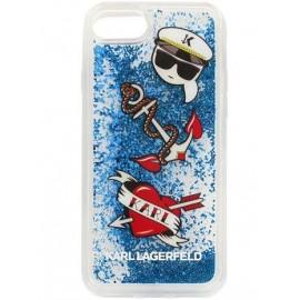 Coque Iphone 8 Karl Lagerfeld Captain Karl Liquid Glitter Blue