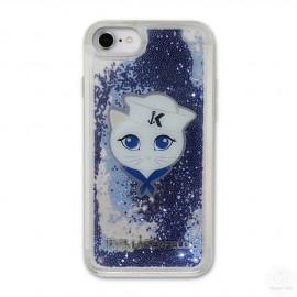 Coque Iphone 8 Karl Lagerfeld Captain Karl Liquid Glitter Blue Sailor
