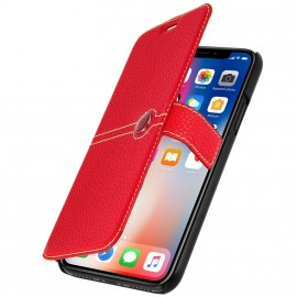 Etui iPhone X Façonnable folio rouge