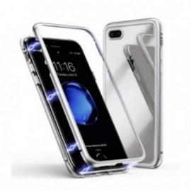 Coque pour Iphone 7 plus / 8 plus magnétique 360° bumper métal argent