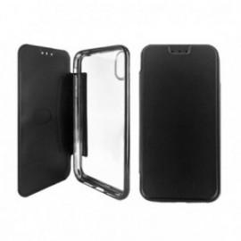 Etui Iphone XR 6,1 Folio ultra fin noir avec coque souple transparente