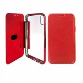 Etui Iphone XR 6,1 Folio ultra fin rouge avec coque souple transparente
